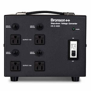 Bronson HE-D Pro 220v to 110v converter front side with 4 NEMA output sockets and circuit breakers