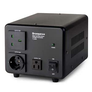 Bronson TI 110v 220v converter front side from above with EU output socket UK output socket and NEMA output socket