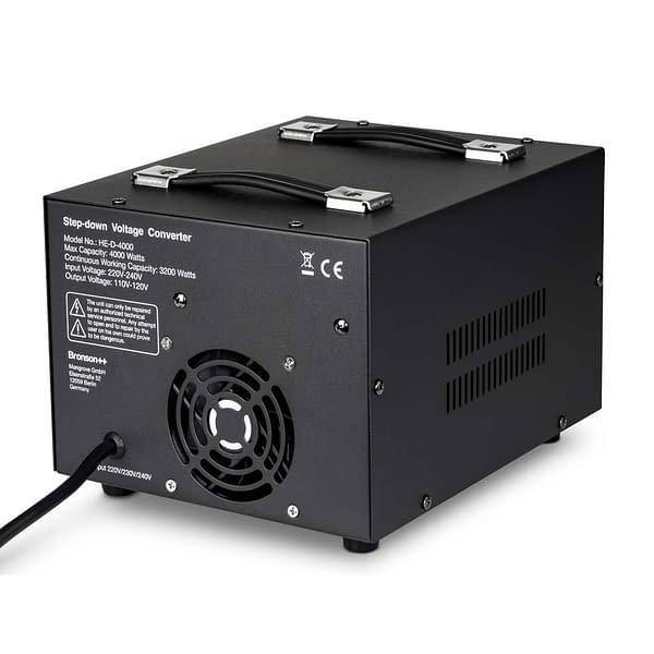 Bronson HE-D Pro 220v to 110v converter backside with input power cable