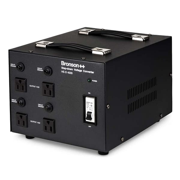 Bronson HE-D Pro 220v to 110v converter front side bird's eye view with 4 NEMA output sockets and circuit breakers