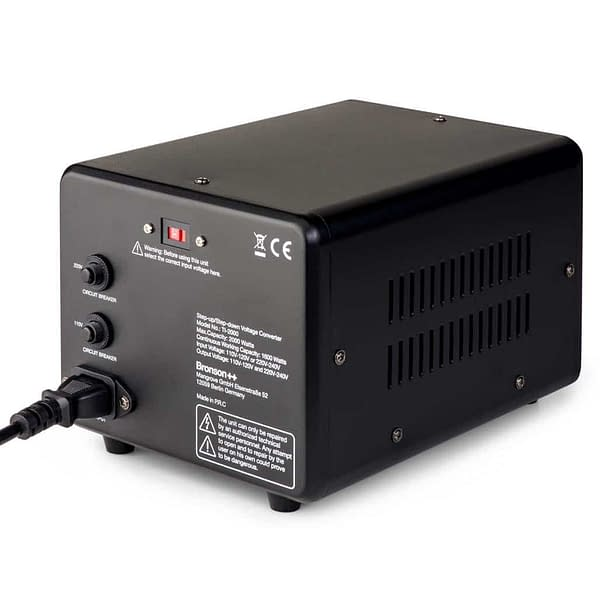 Bronson TI 110v 220v converter back side from above with circuit breakers and input socket with cable