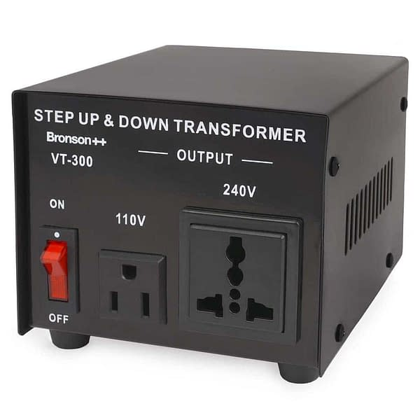 Bronson VT 110v 220v converter from front with power switch US and EU socket