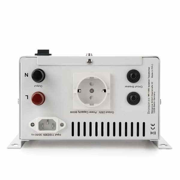 Bronson MII isolation transformer backside with screw terminal power cord input and eu socket output
