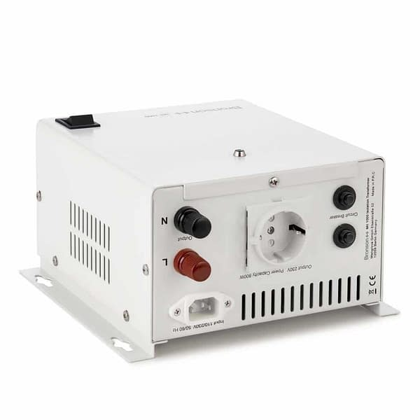 Bronson MII isolation transformer backside from above with screw terminal power cord input and eu socket output