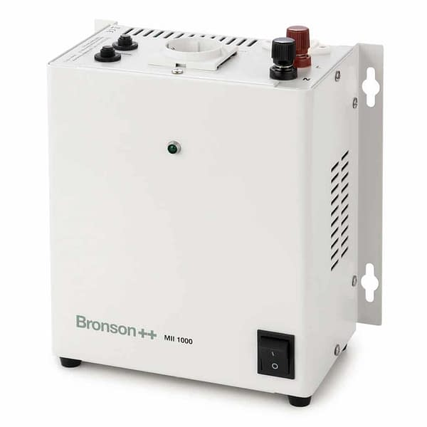 Bronson MII isolation transformer standing upright with EU socket and screw terminal