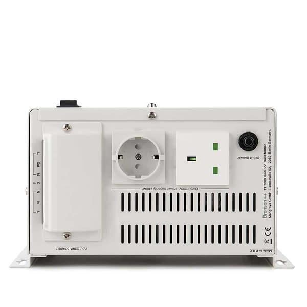 Bronson TT isolation transformer back side with screw terminal eu socket and nema socket