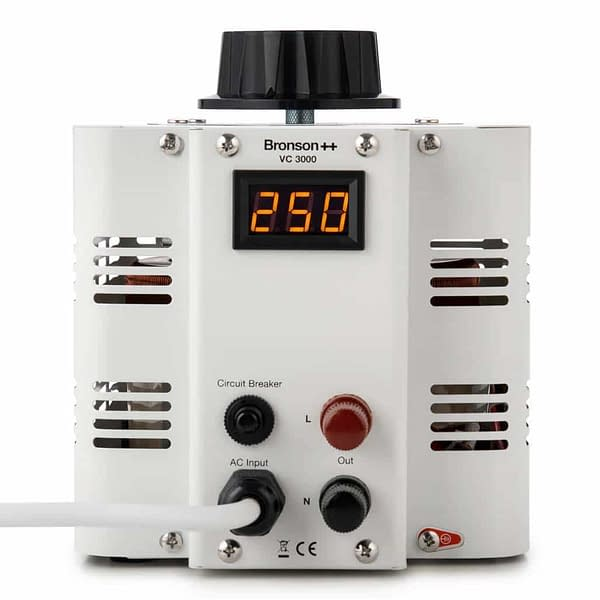 Bronson VC variable transformer frontside with input and output screw terminal display and control dial